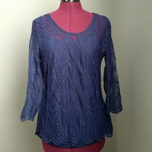 Willi Smith Navy Blue Sheer Scalloped Lace Top